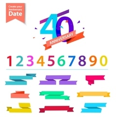 Set of anniversary numbers design create vector