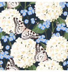 Hydrangea and forget-me-not seamless vector image