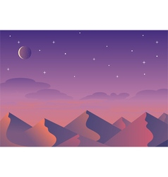 Cartoon desert landscape hills and mountains vector