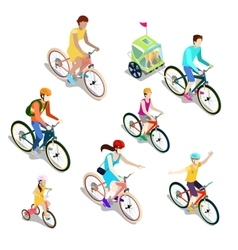 Isometric people on bicycles family cyclists vector