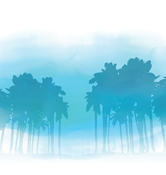 watercolor palm trees 3005 vector image