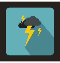 Gray cloud and lightning icon flat style vector