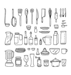 A set of kitchen objects line vector