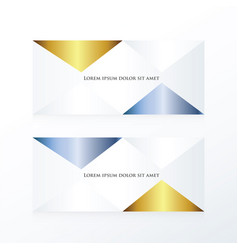 Abstract pyramid banner gold and blue vector