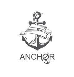 anchor symbol with ribbon vector image vector image