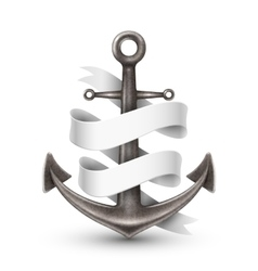Anchor with ribbon 3d design vector