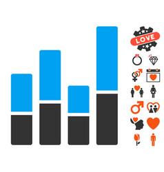 bar chart icon with dating bonus vector image