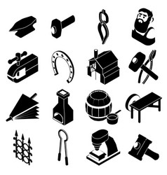Blacksmith tools icons set simple style vector