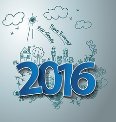 Blue tags label 2016 text design on drawing eco vector