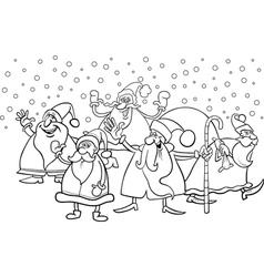 cartoon santa clauses coloring page vector image