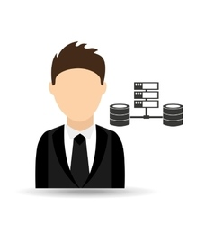 Character man with computer server data design vector