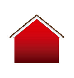 Colored facade silhouette house with roof vector