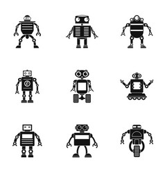 cyborg icons set simple style vector image