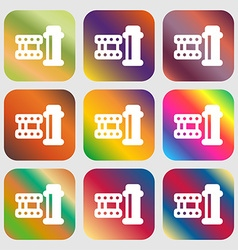 Film icon sign nine buttons with bright gradients vector
