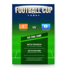 football or soccer poster with text design vector image vector image