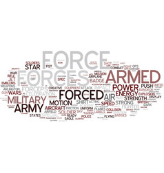 Forces word cloud concept vector