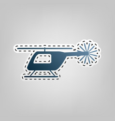 Helicopter sign blue icon vector