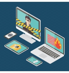 Isometric internet security vector image vector image