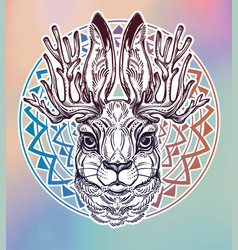 Jacalope magical creature portrait art vector