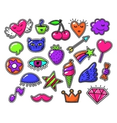 Love fashion signs comic drawing patches vector