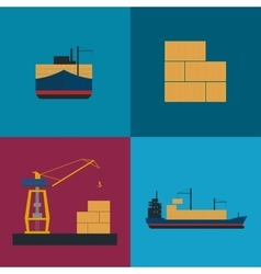 Maritime freight shipping icon set vector