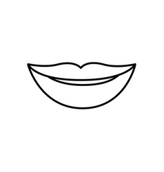 Monochrome contour of lips smiling vector