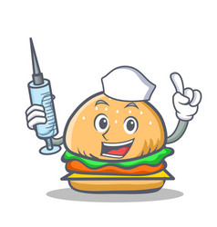 nurse burger character fast food vector image