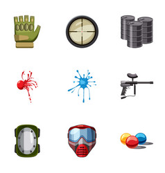 Paintball club icons set cartoon style vector