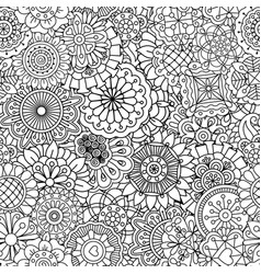 Pattern with round mandala style flowers vector