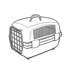plastic pet travel carrier for transporting cats vector image vector image