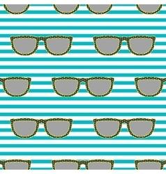 Pop sunglasses retro seamless pattern in neon vector