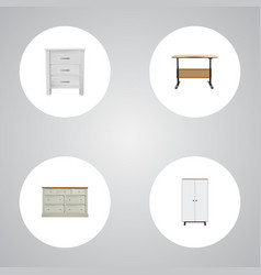 Realistic cupboard wardrobe commode and other vector