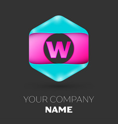 Realistic letter w logo in colorful hexagonal vector