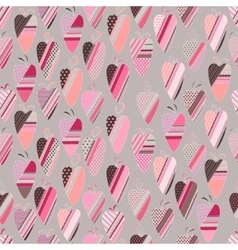 Seamless pattern with vintage tilda hearts vector image vector image