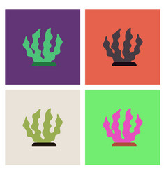 Seaweed icon set vector