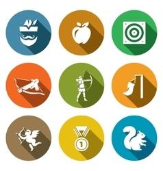 Set of archery icons robin hood apple vector
