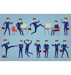 Set of businessman characters poses eps10 vector image vector image