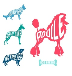 Set of dog breeds silhouettes text inside poodle vector