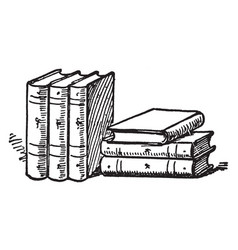 six books or collections of books vintage vector image