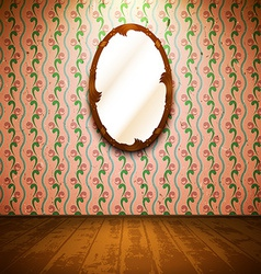 Vintage room with mirror and floral wallpaper vector
