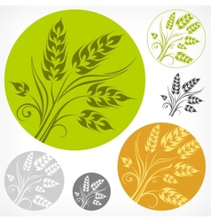 Wheat pattern in round vector image vector image