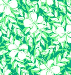 White hibiscus flowers and leaf seamless pattern vector