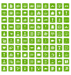 100 business icons set grunge green vector image vector image