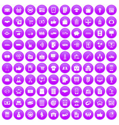 100 business icons set purple vector image vector image