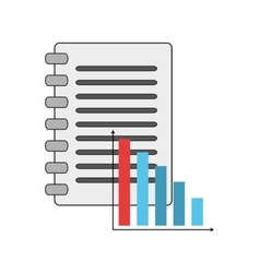 Notebook and bar graph icon vector