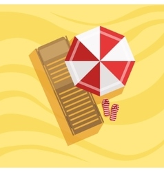 Sunbed flip-flops and umbrella spot on the beach vector
