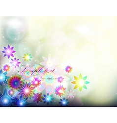 Abstract fluorescent floral background vector