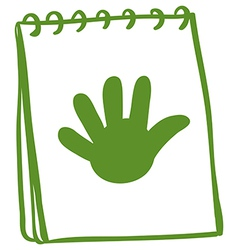 A green notebook with a drawing of a hand vector