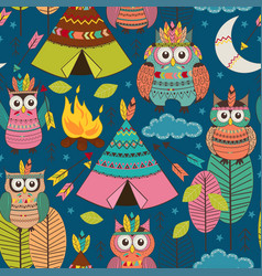 seamless pattern with tribal owls night vector image