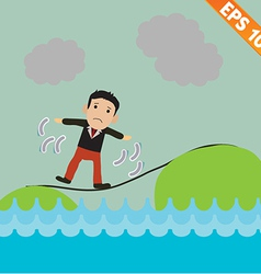 Cartoon businessman walking on the rope - - vector